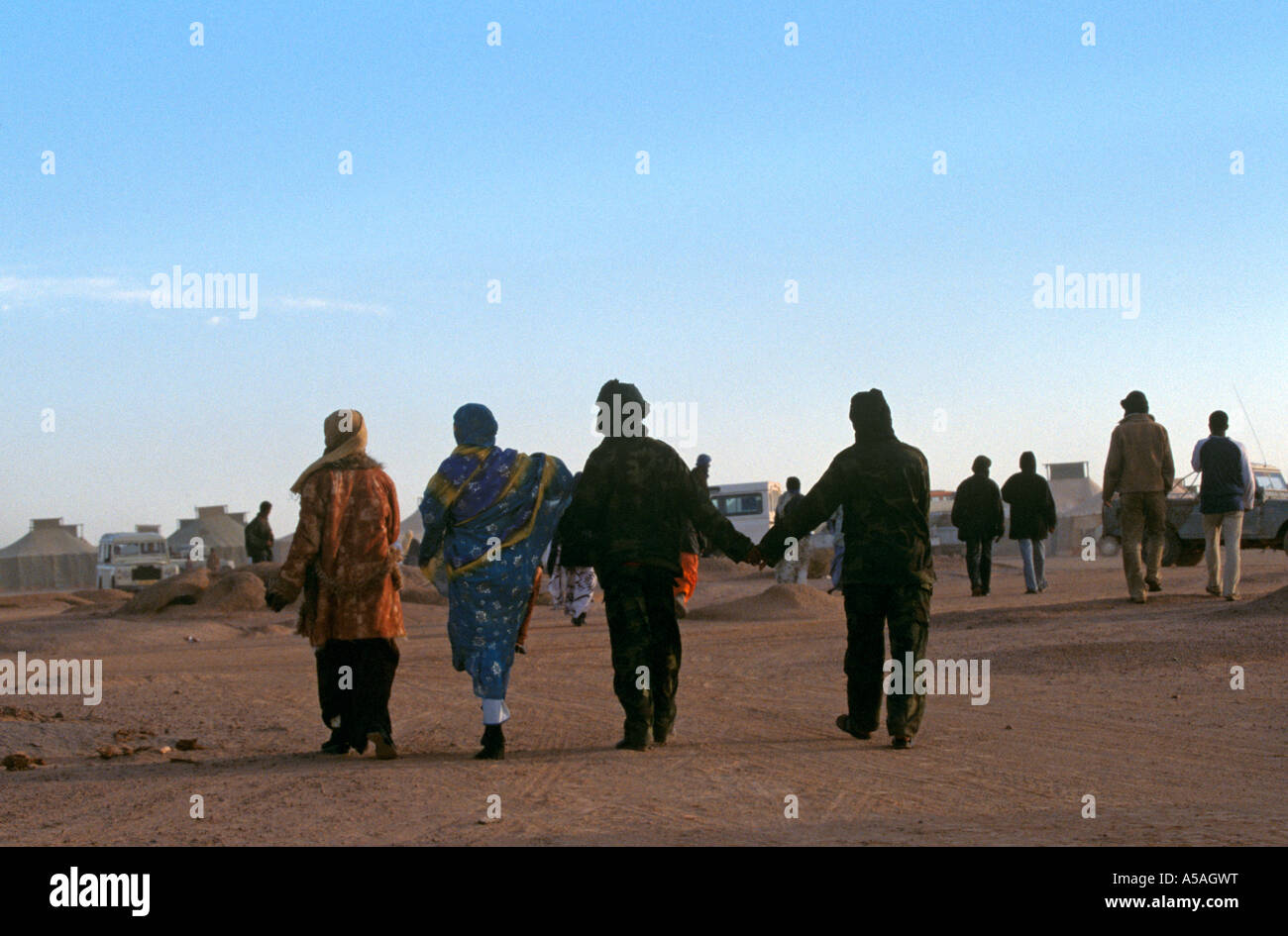 A Sahrawi refugee camp in Tindouf Western Algeria - Stock Image