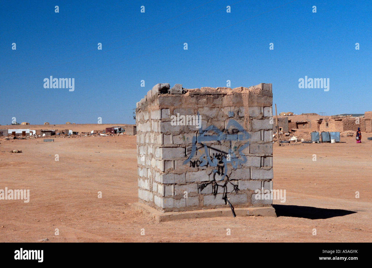 A view of a refugee camp in Tindouf Western Algeria - Stock Image