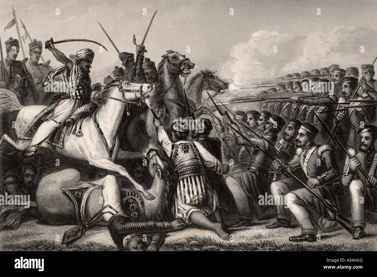 Mutineer cavalry attacking an infantry square at the Battle of Cawnpore - Stock Image