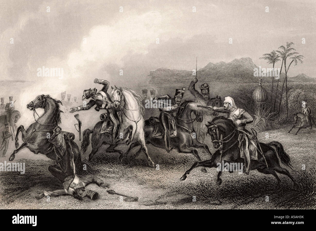 Encounter between Lieutenant Hills and a body of Sepoy cavalry - Stock Image
