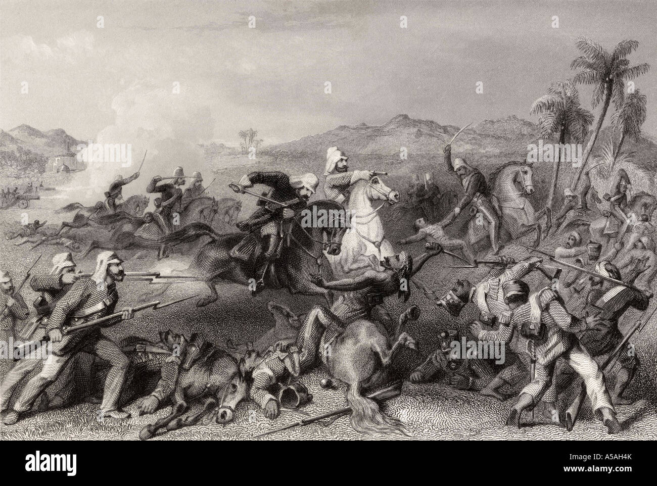 Attack on the Sealkote mutineers by General Nicholson's irregular cavalry - Stock Image
