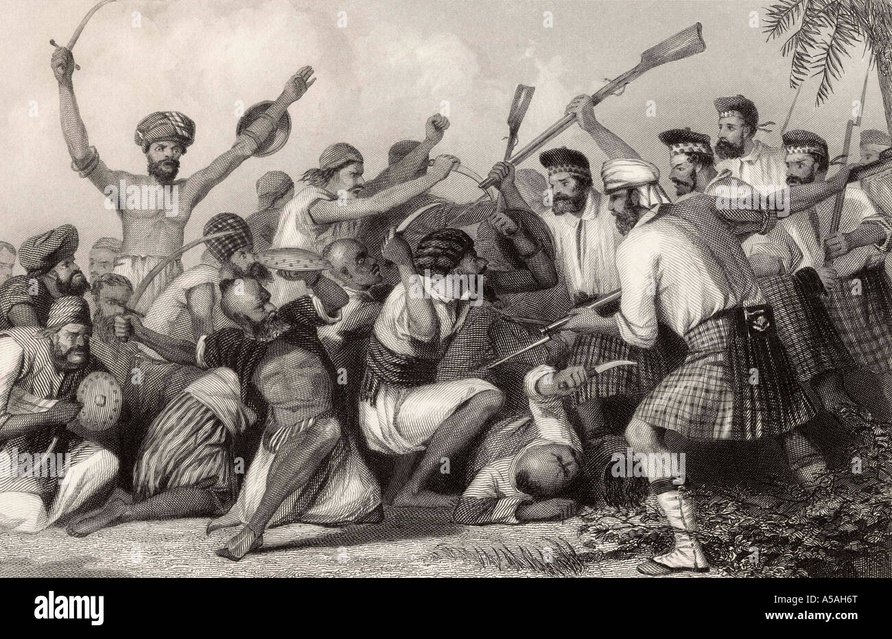 Conflict with the Ghazees before Bareilly May 6th 1858 From The History of the Indian Mutiny published 1858 - Stock Image