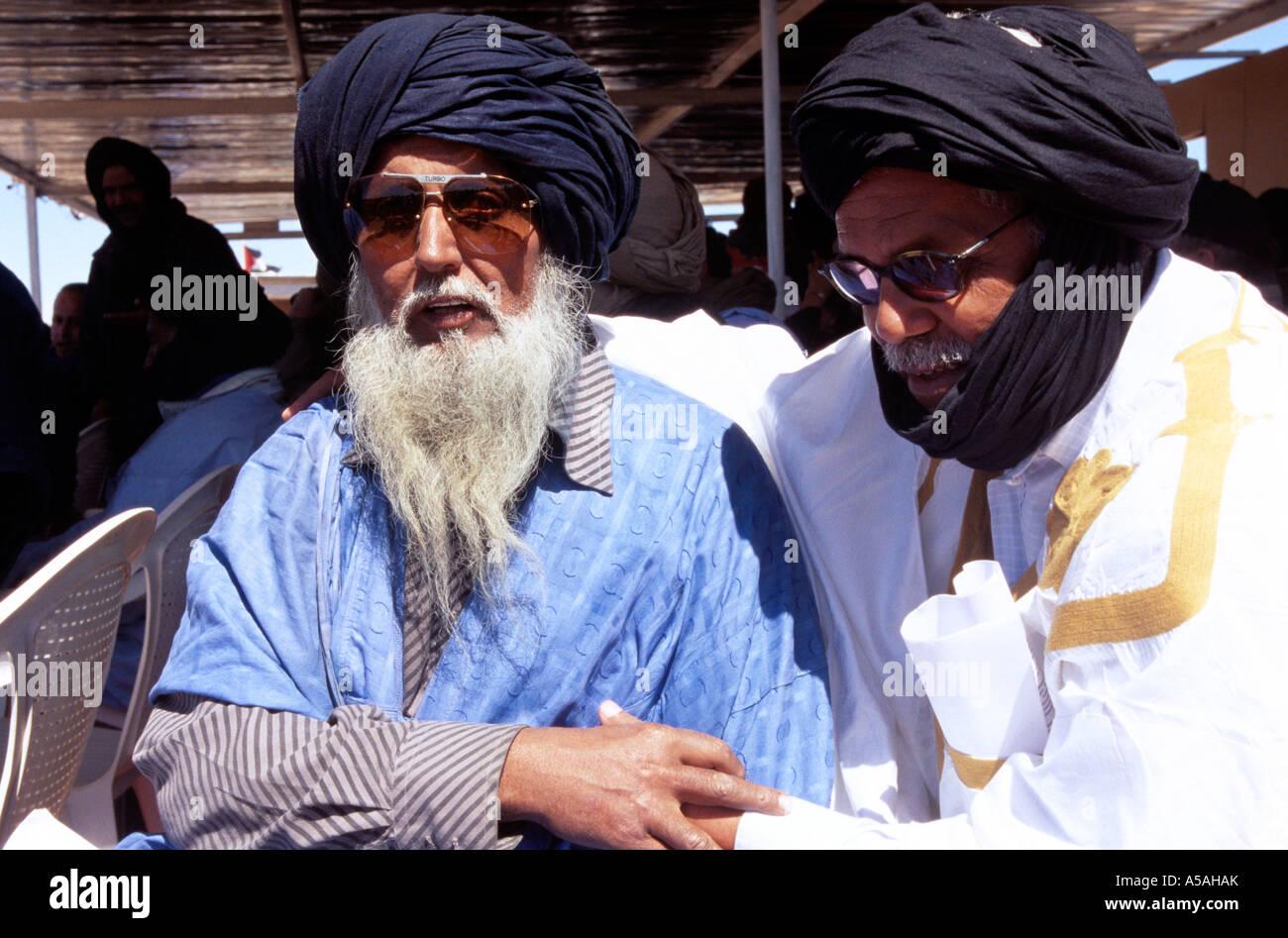 Elderly Sahrawi men in Tindouf Western Algeria - Stock Image