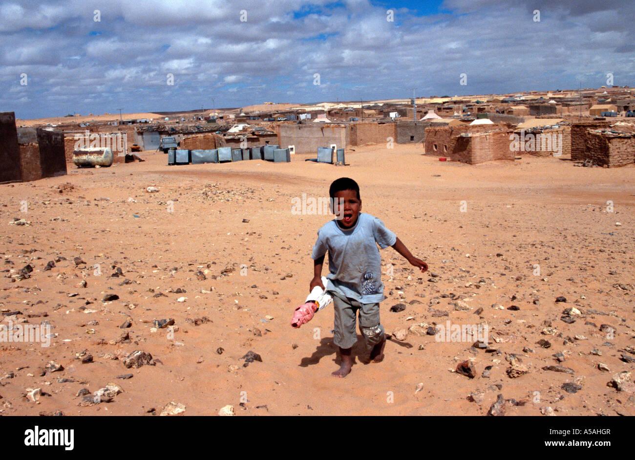 A Sahrawi boy at a refugee camp in Tindouf Western Algeria - Stock Image