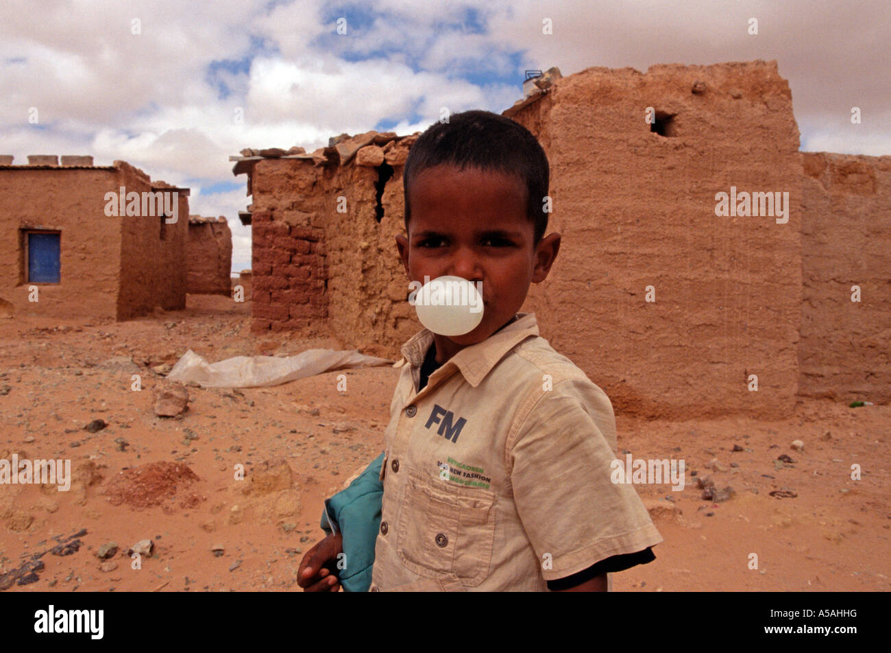 A Sahrawi having chewing gum in Tindouf Western Algeria - Stock Image