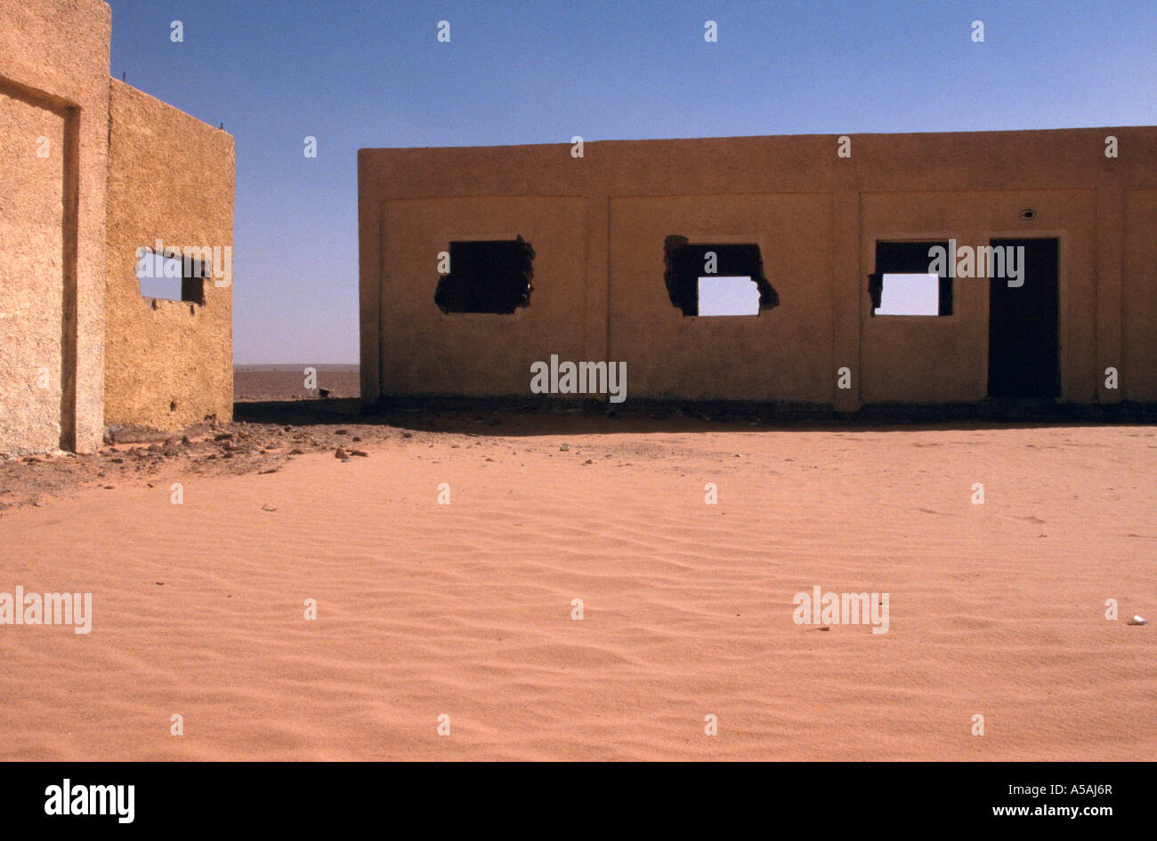An abandoned Spanish military post in Western Sahara - Stock Image