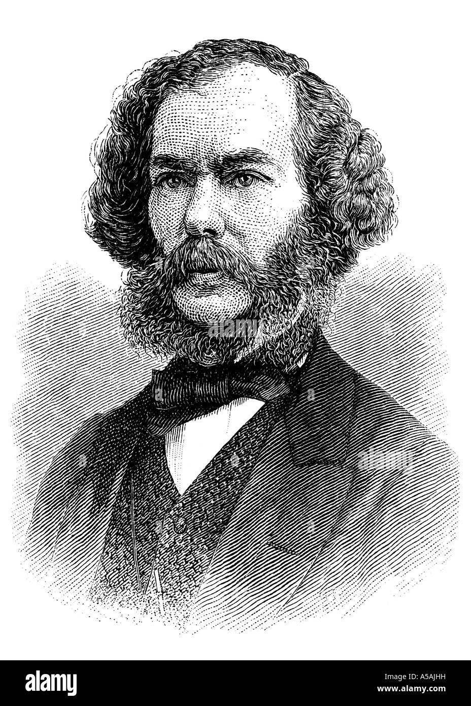 Engraving of 19th century literary critic George Henry Lewes - Stock Image