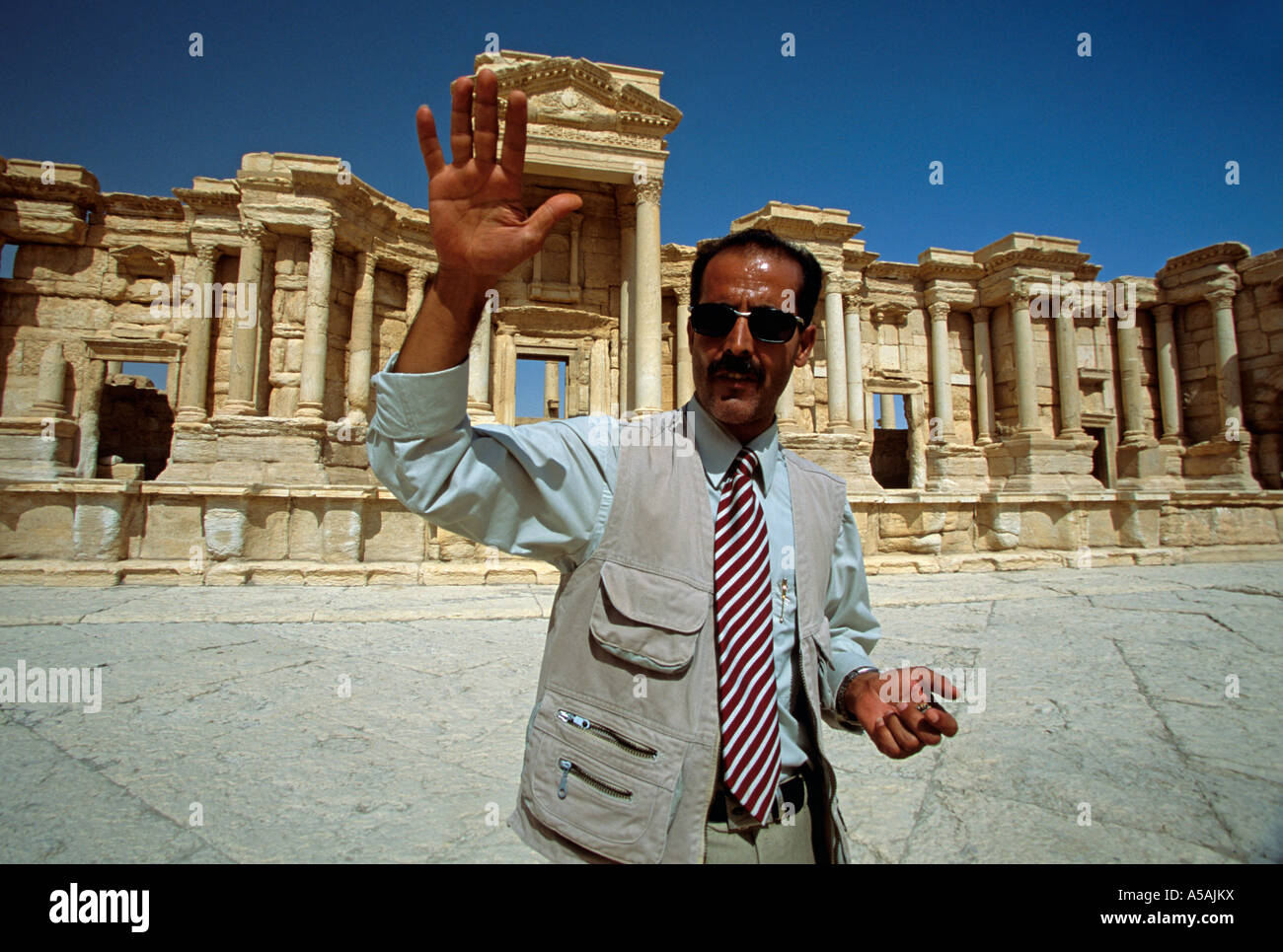 A Tour Guide At The Roman Ruins In Palmyra Syria Stock Photo