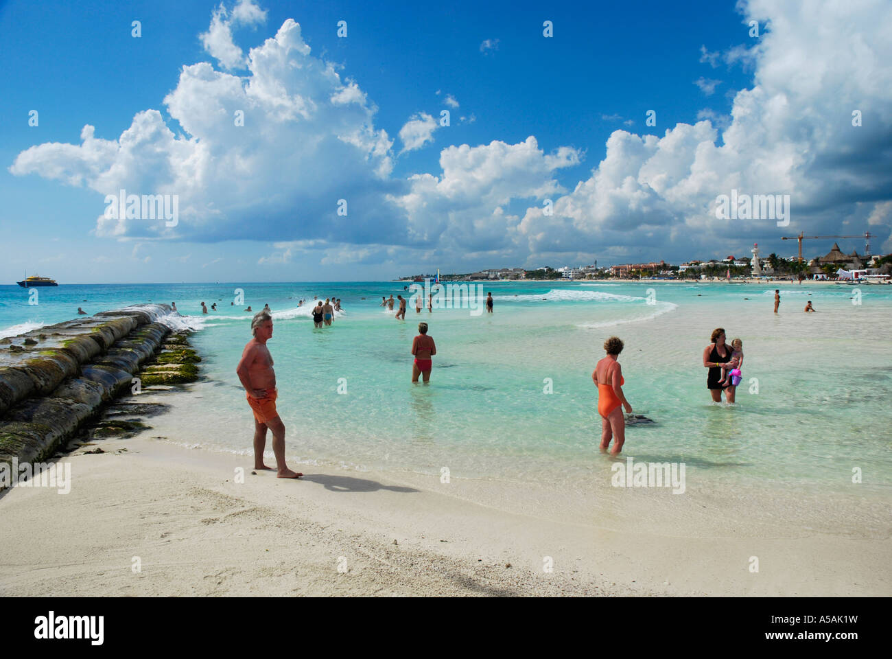 Beach life at the 10 mile long beach in Playa del Carmen Mexico - Stock Image