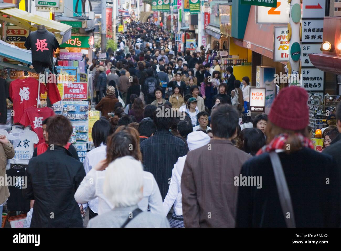 Crowds of fashionable shoppers on Takeshita dori in the Harajuku district of Tokyo Japan Asia Stock Photo