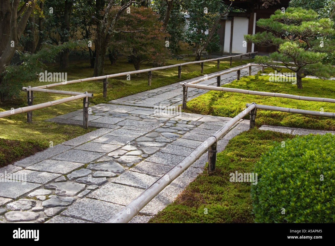 The stone path at the entrance of Korin in garden which is a subtemple of Daitokuji Temple Kyoto Kansai Region JapanStock Photo