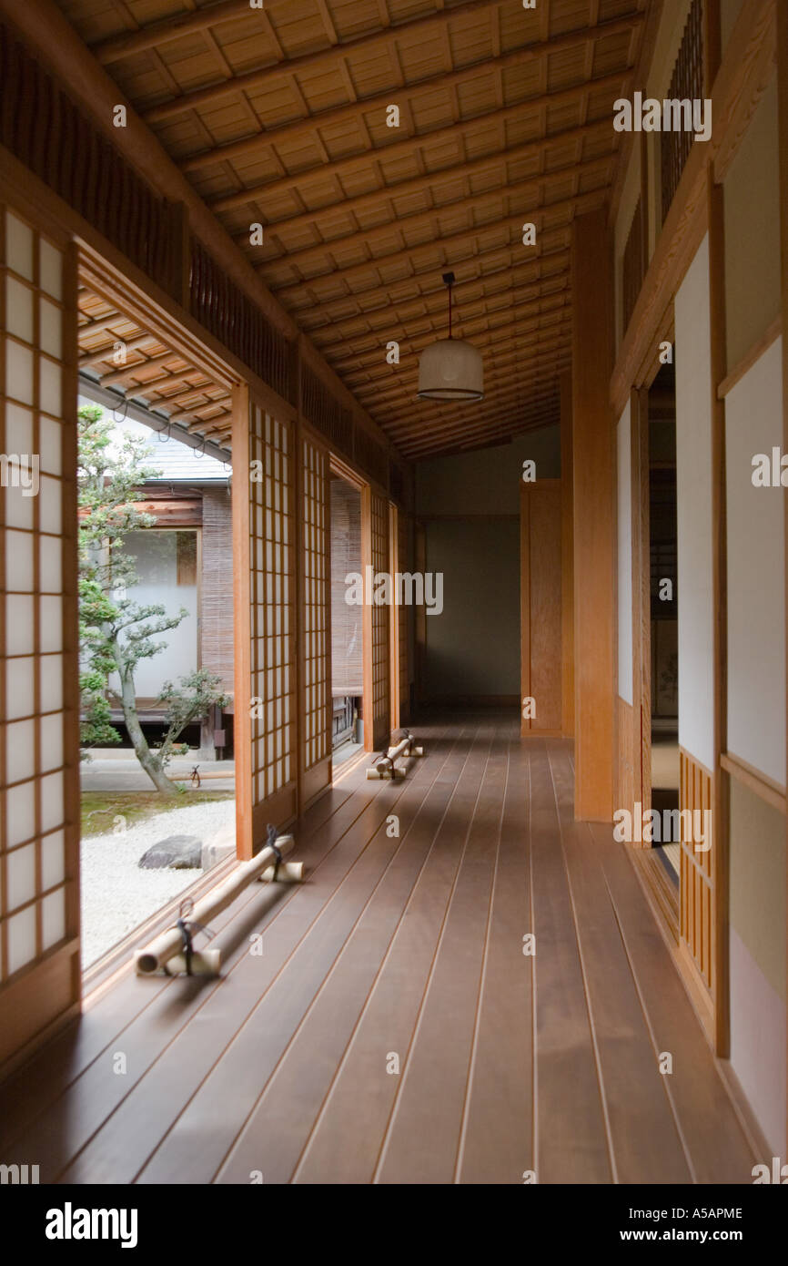 Hallway at Soken in garden subtemple Daitokuji Temple Kyoto Kansai Region Japan - Stock Image