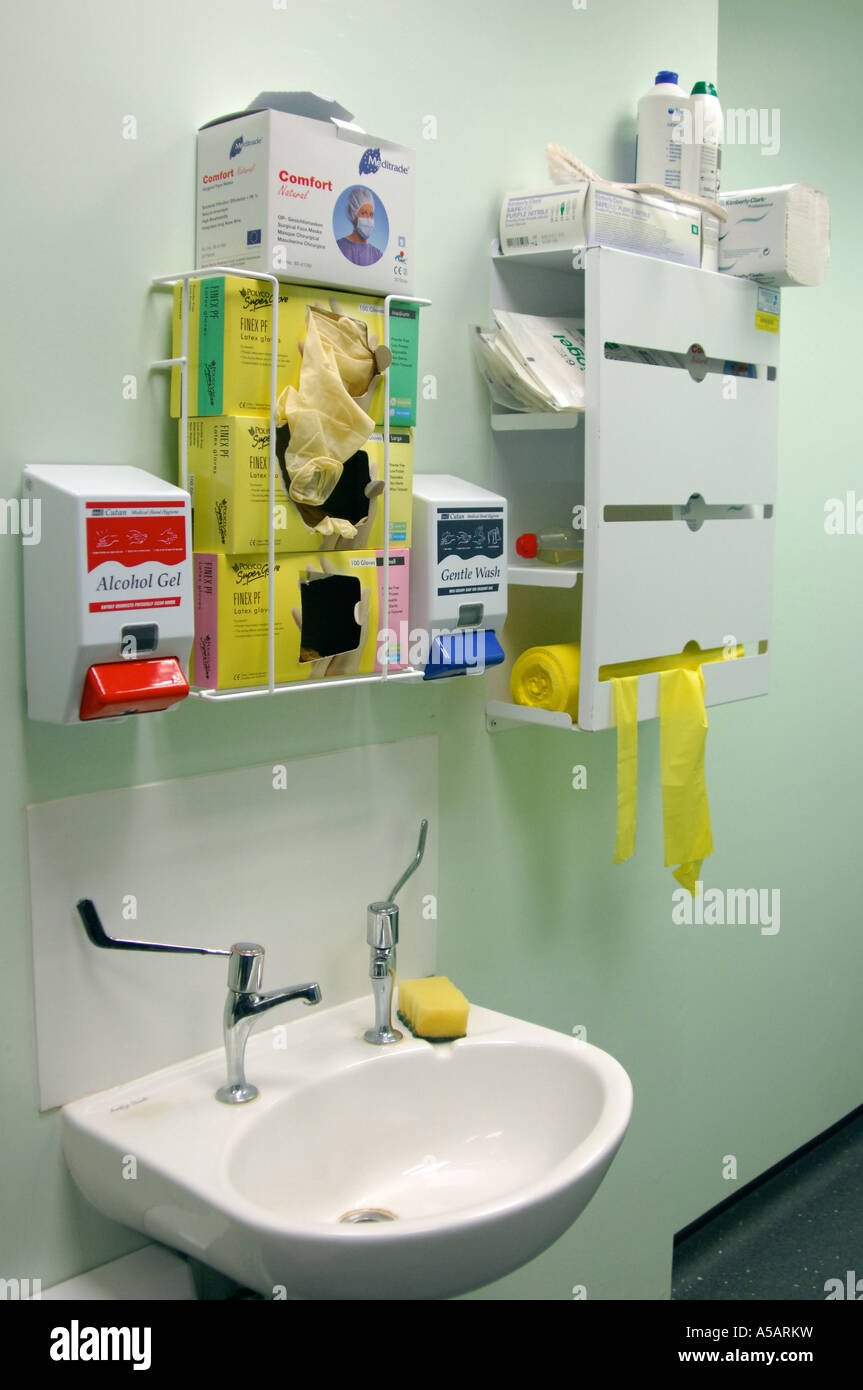 MRSA Super Bug Prevention London Hospital UK. Hand Washing Sink With  Cleaning Materials.