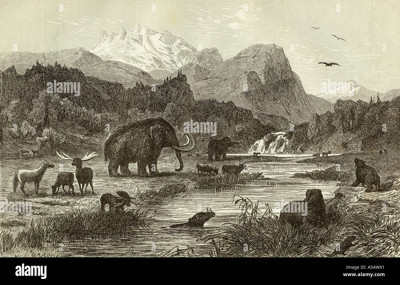 Pliocene age landscape - Stock Image