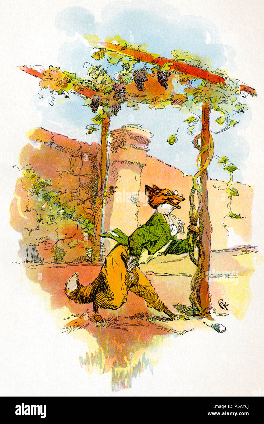 Aesop and the tale of the Fox and the Grapes - Stock Image