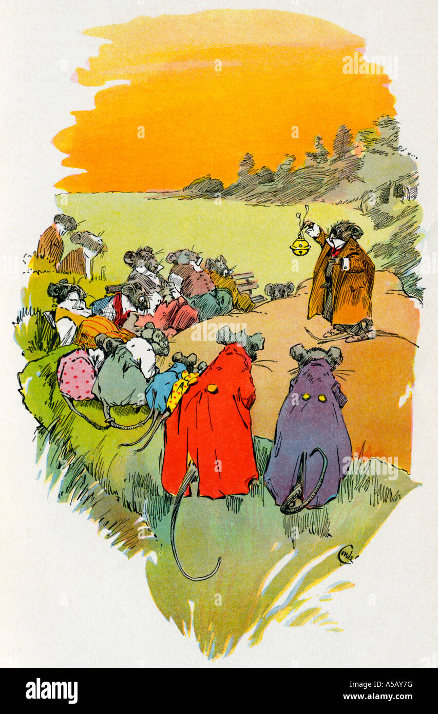 Aesop and the tale of the Mice in Council - Stock Image
