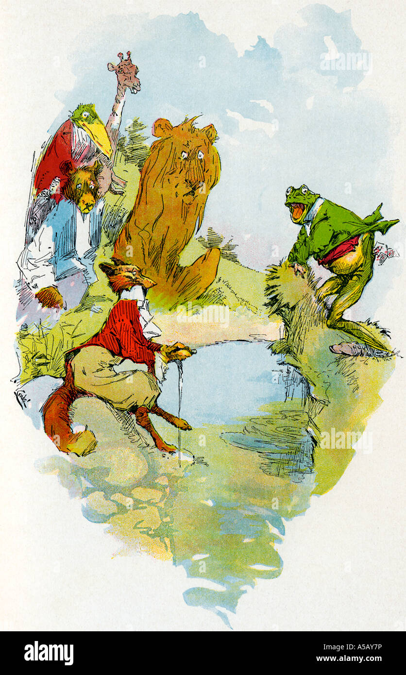 Aesop and the tale of the Quack Frog - Stock Image