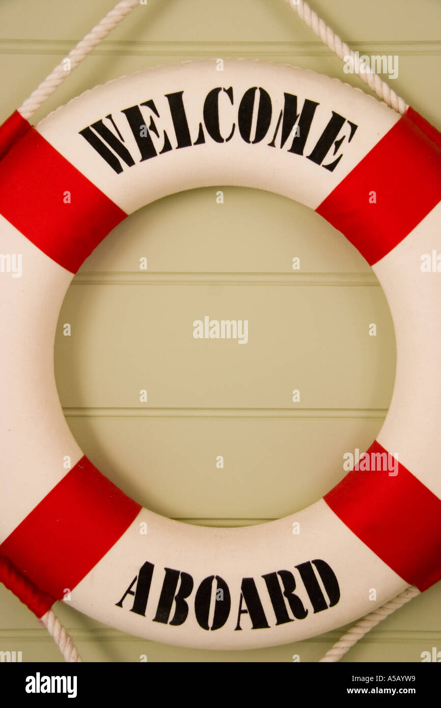 Lifebelt with welcome message Stock Photo