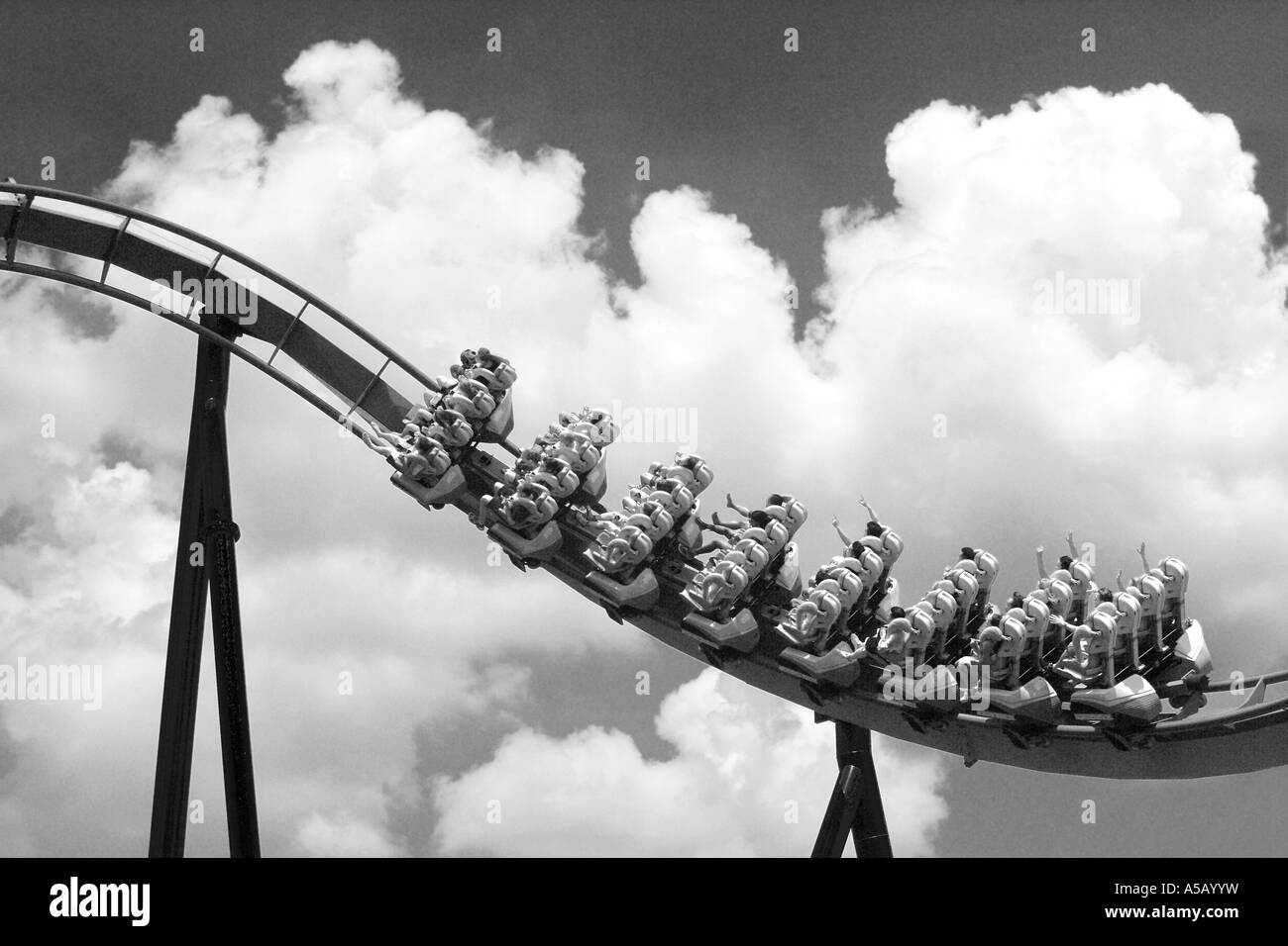 Powered Roller Coaster Ascent and Gravity Assist Return - Stock Image
