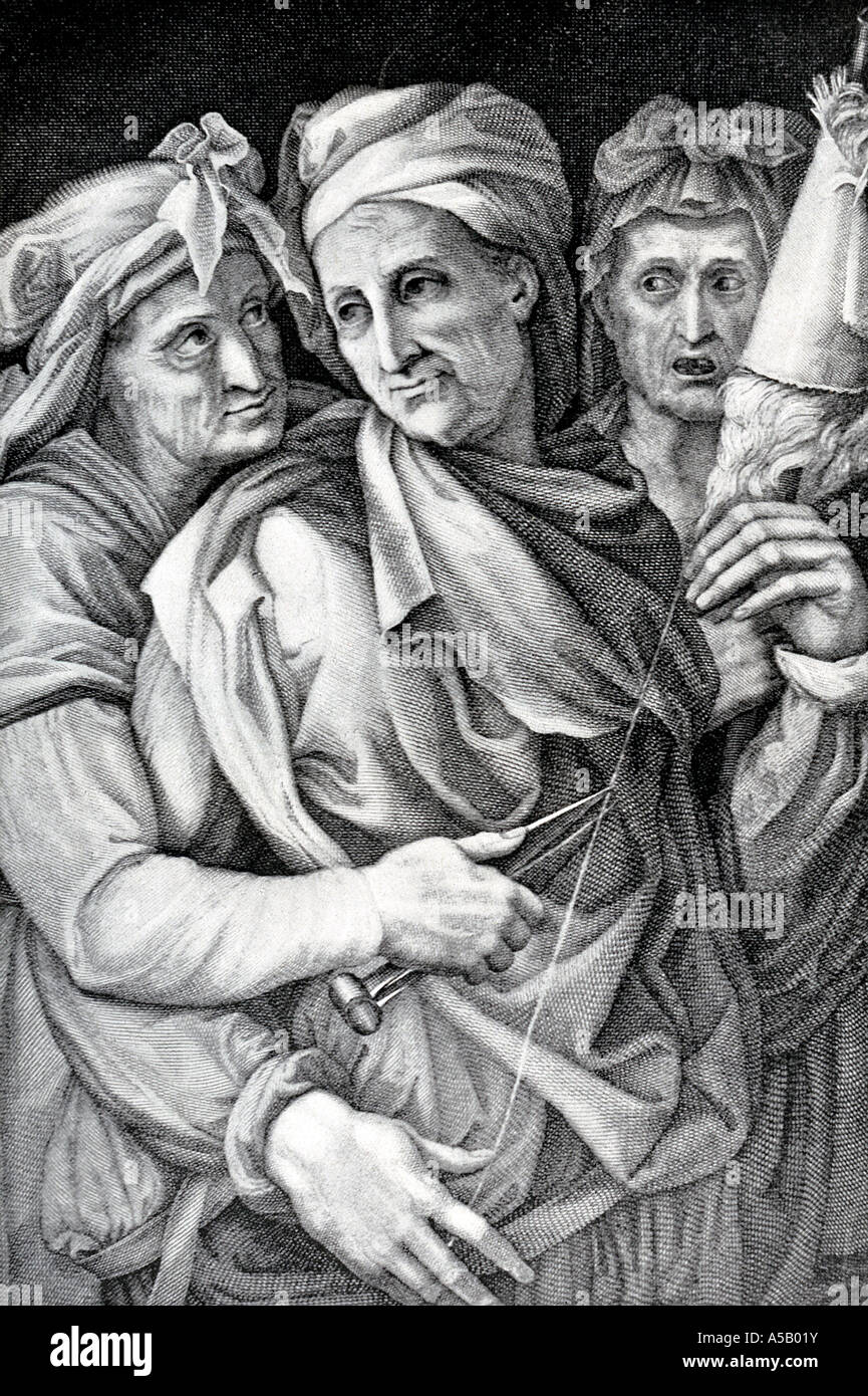 The Three Fates In Greek And Roman Mythology Stock Photo
