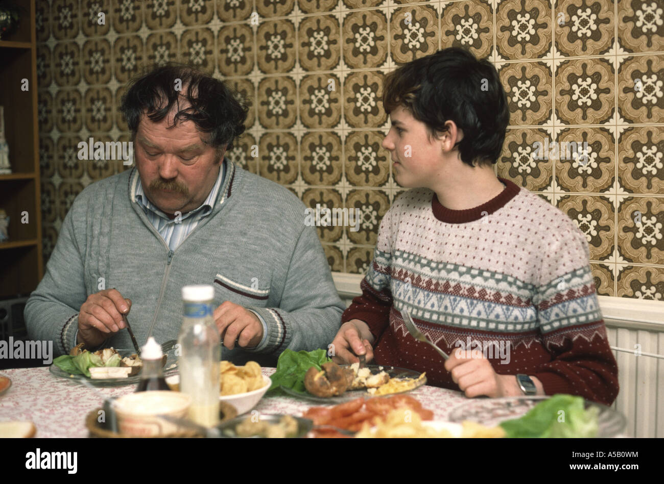 Family in late seventies having their tea - Stock Image