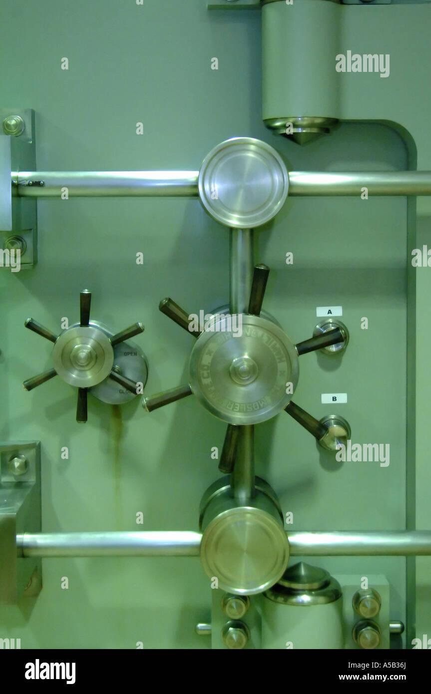 Locked locking mechanism of bank vault door Stock Photo