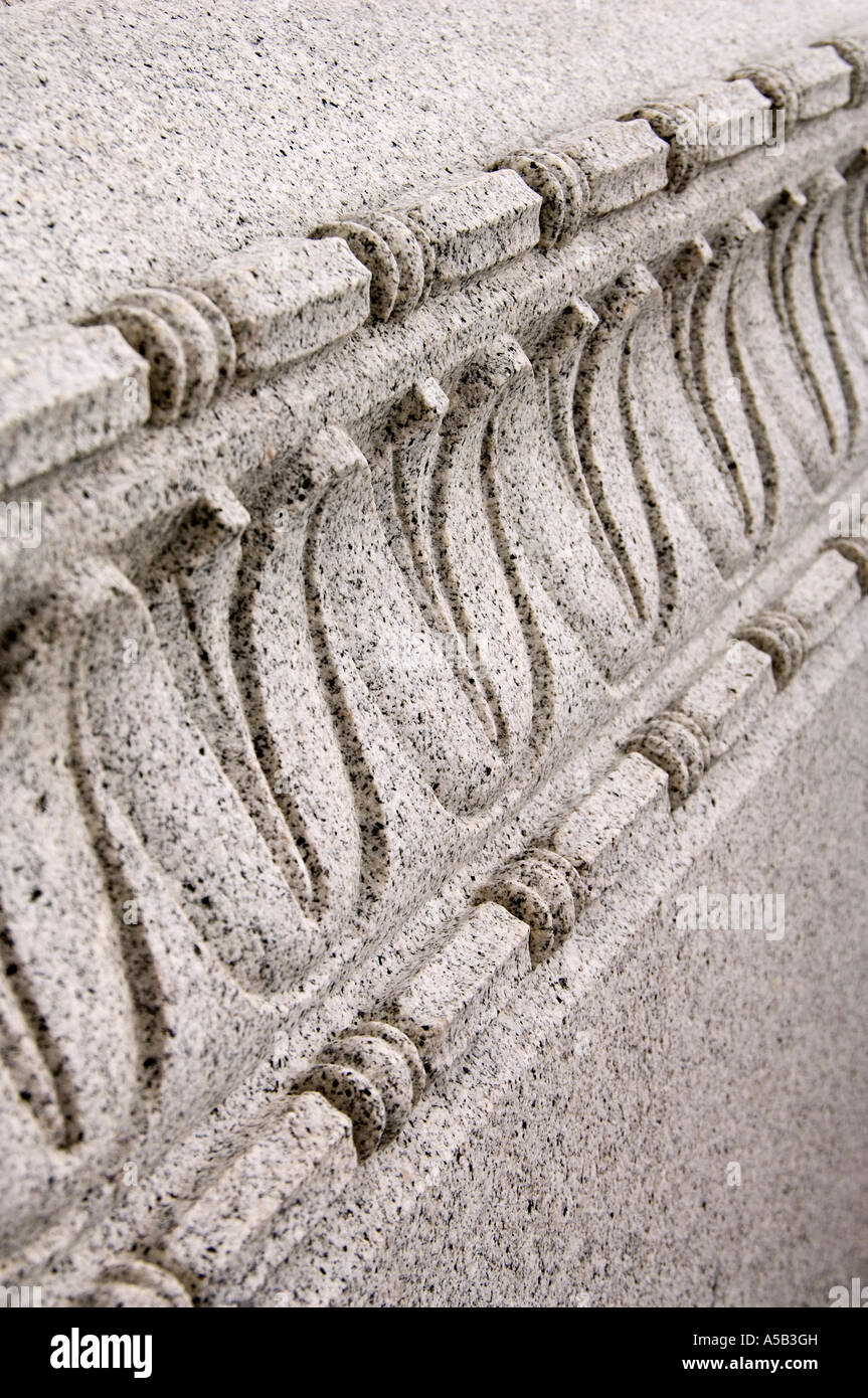 Detail of granite cornice. - Stock Image
