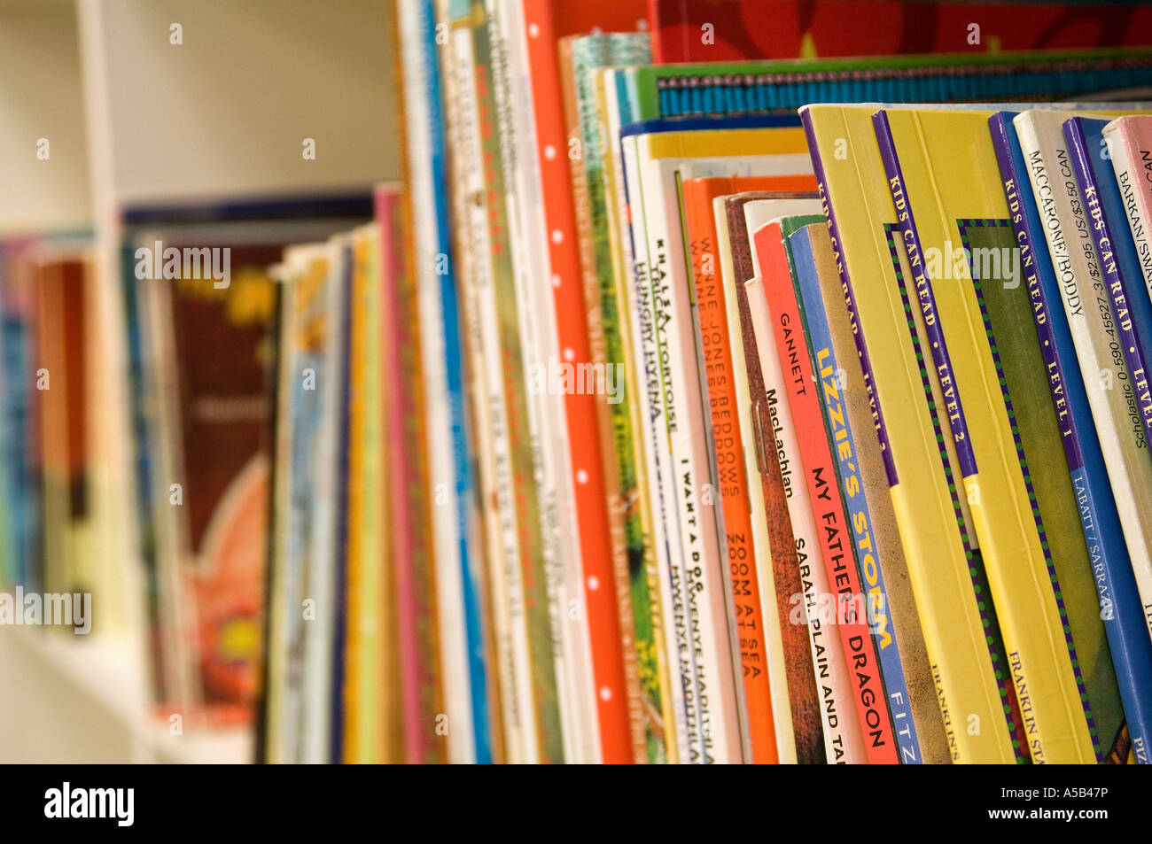 Childrens Books On Shelf Of School Library Stock Photo 11256537
