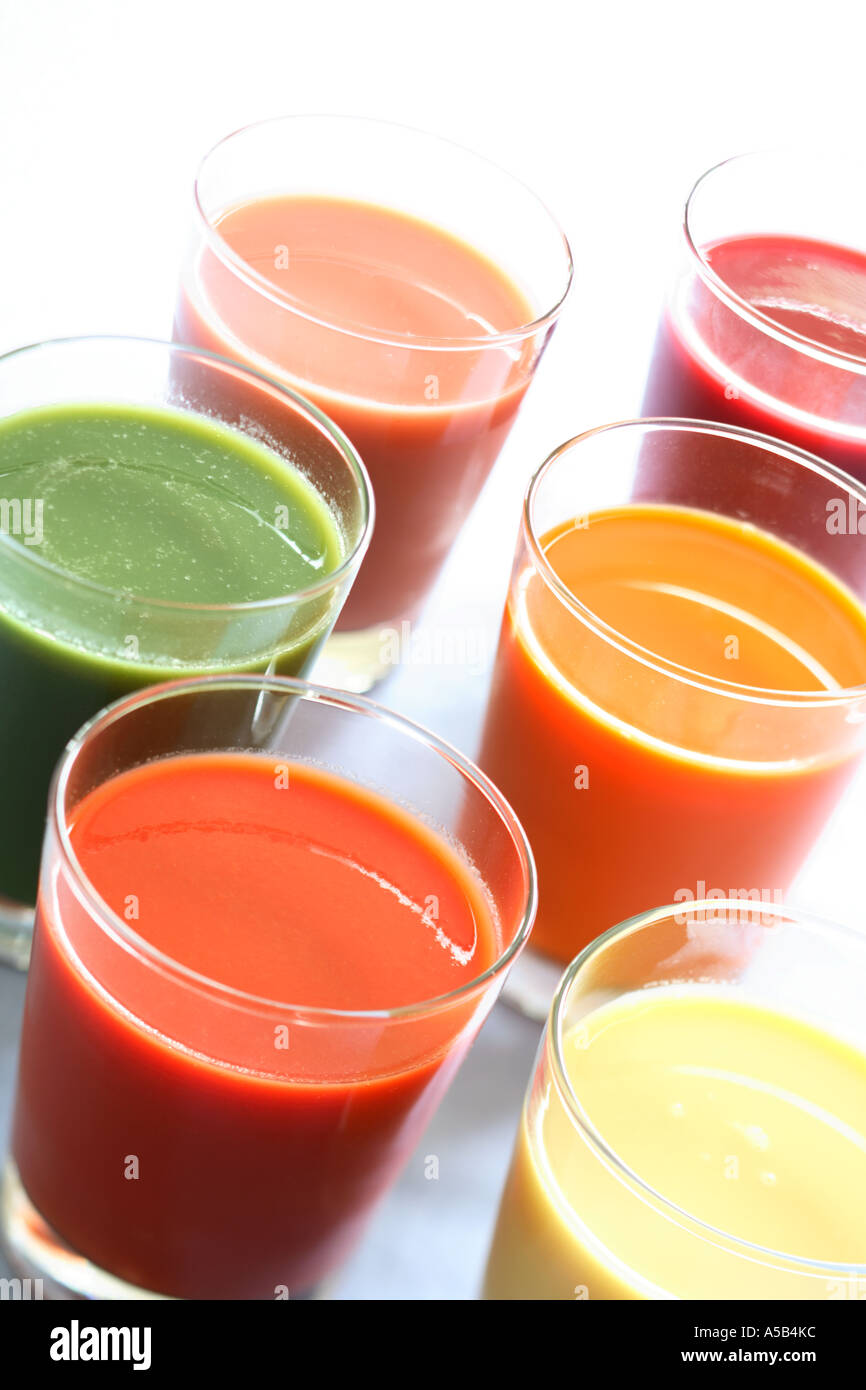 Glasses of Natural Fruit and Vegetable Juices - Stock Image