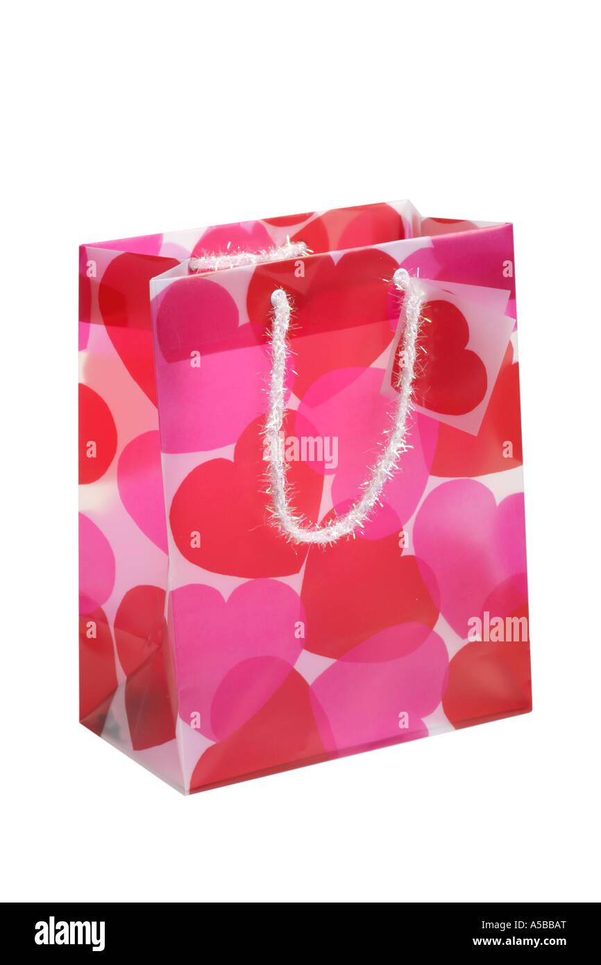 Valentine S Day Gift Bag Cut Out On White Background Stock Photo