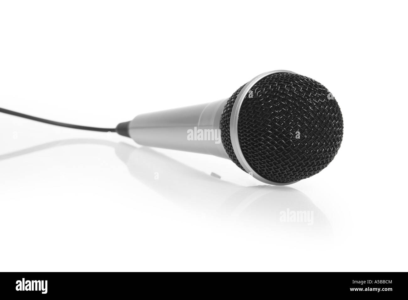 Microphone cut out on white background - Stock Image