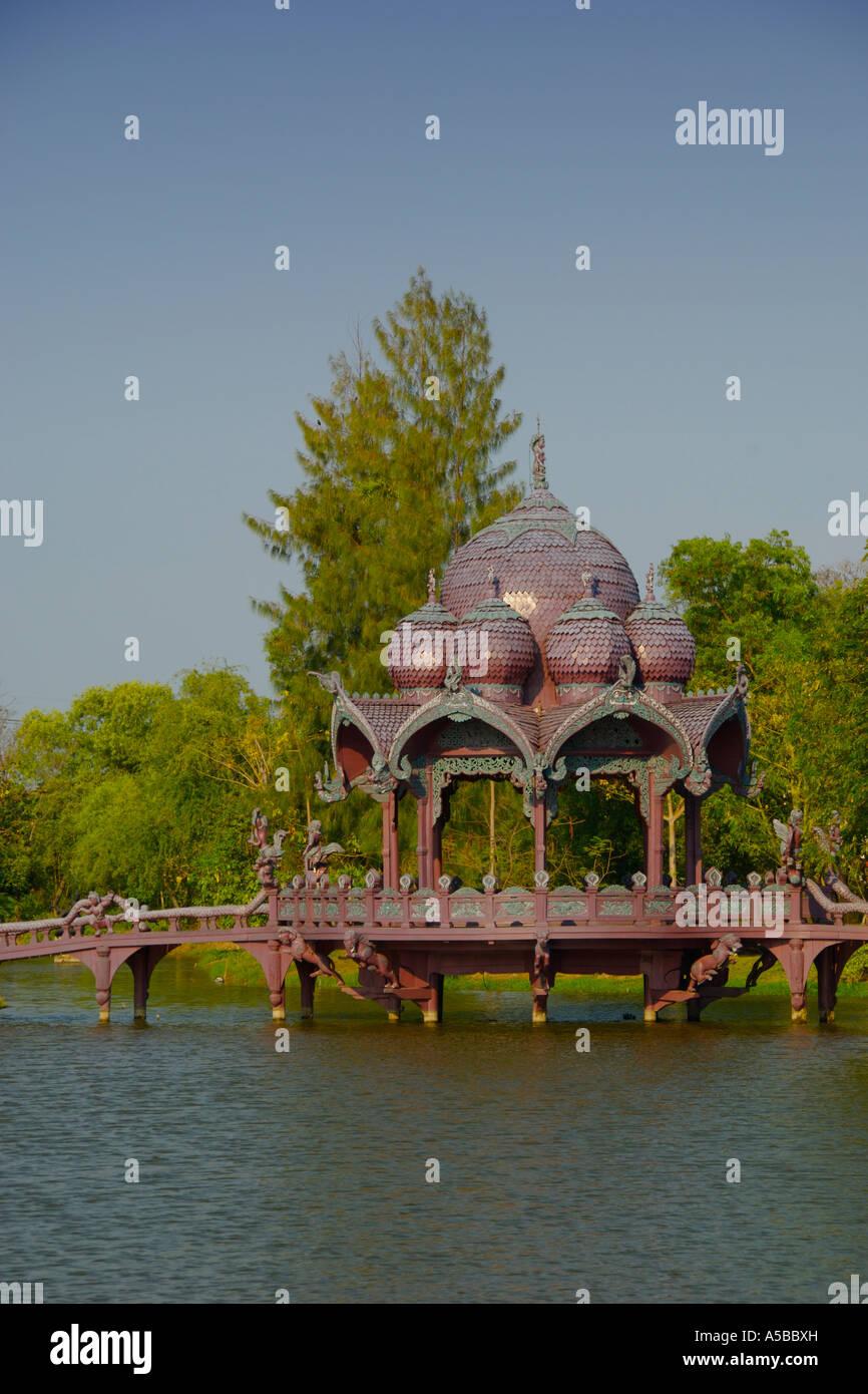 A decorated water pavilion at Muang Borang in Samut Prakarn Thailand - Stock Image