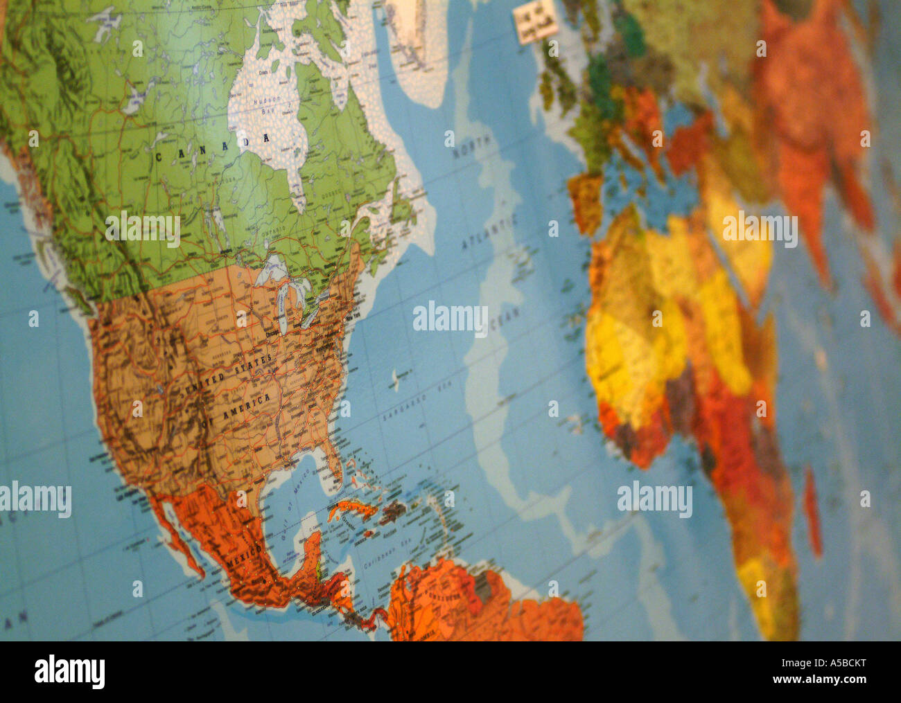 Close-up of world map. - Stock Image