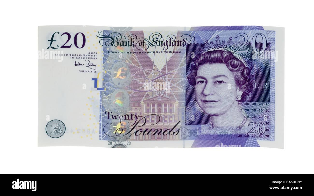 Pile of twenty 20 pound notes new 2007 design - Stock Image