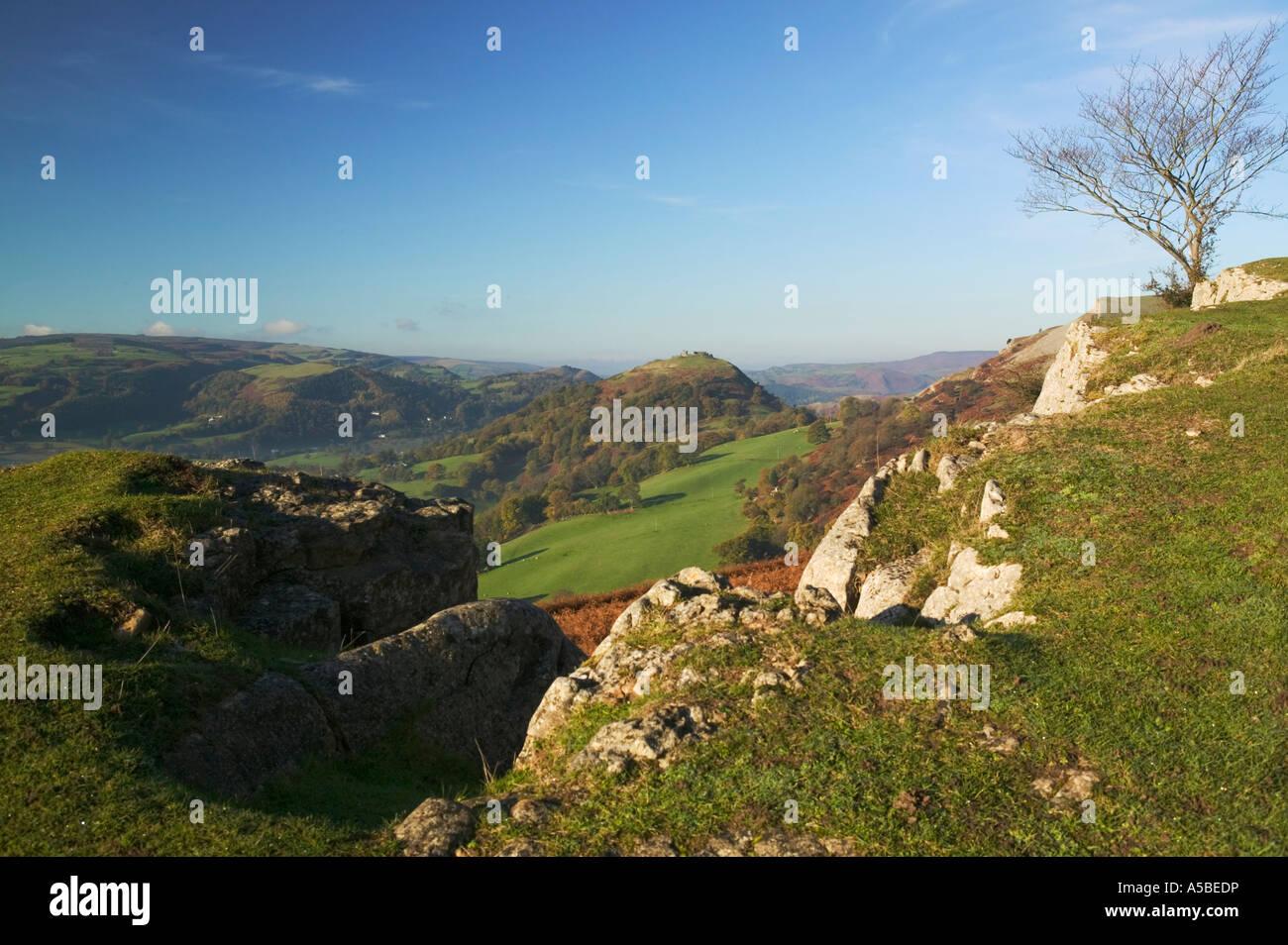 Castell Dinas Bran Trevor Rocks Vale of Llangollen Llangollen Denbighshire Wales - Stock Image
