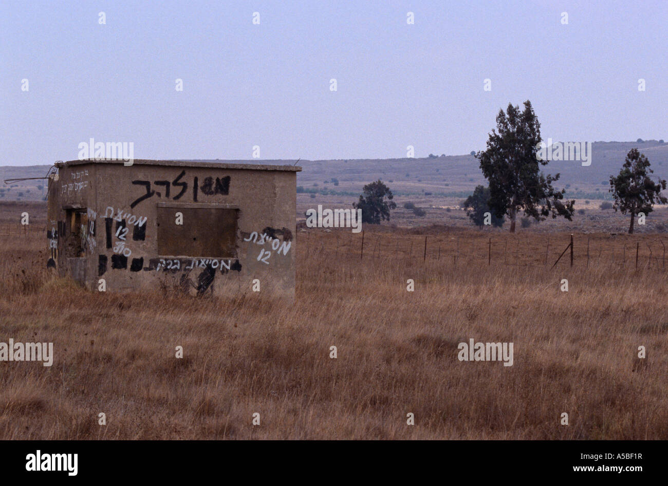 Graffiti on hut in remote area, Golan Heights, Jerusalem - Stock Image