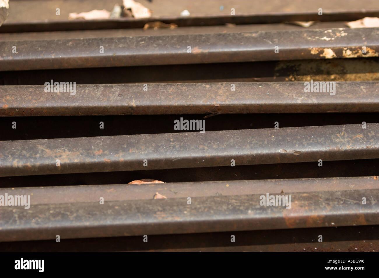 Unused rails beside Burma Railway Thailand. - Stock Image