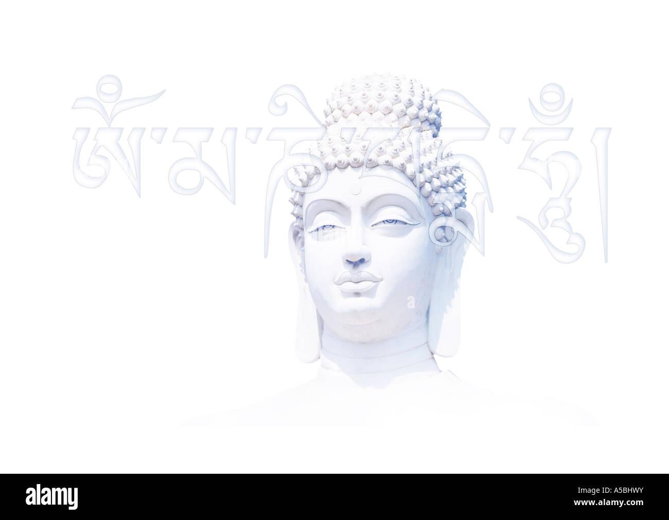 Blue white Buddha head and Tibetan om mani padme hum mantra - Stock Image
