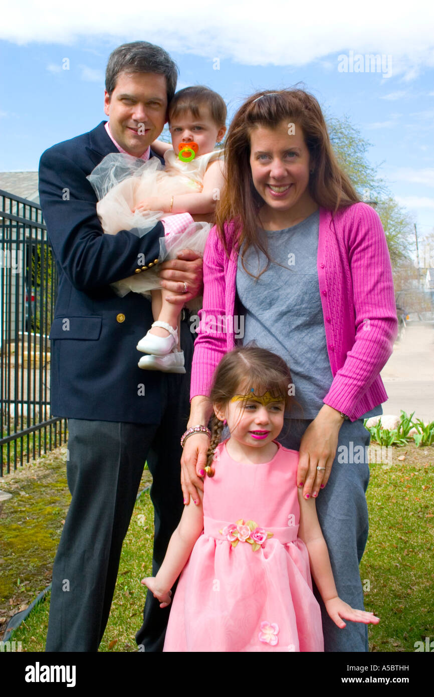 Happy family dressed in easter clothes st paul minnesota usa