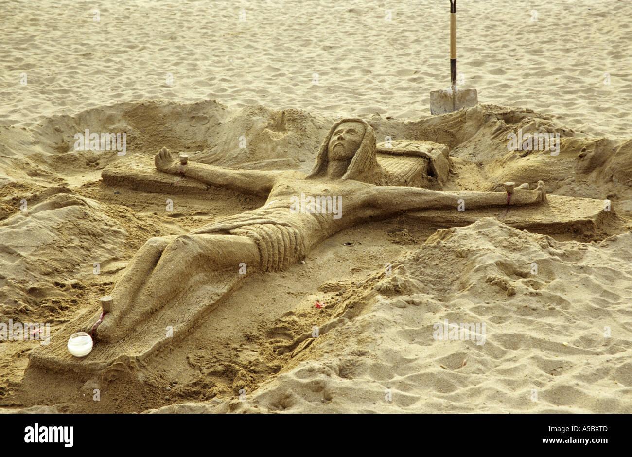 Sand sculpture of Jesus Christ - Stock Image