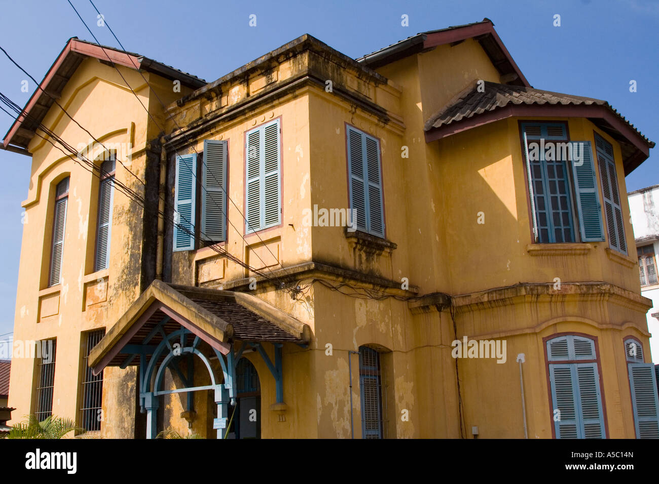 Old French Colonial Style Building Luang Prabang Laos Stock Photo