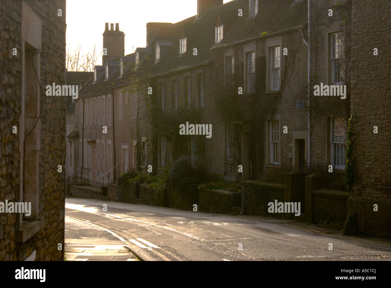 Merchants' houses on Vallis Way, Frome in Somerset. - Stock Image