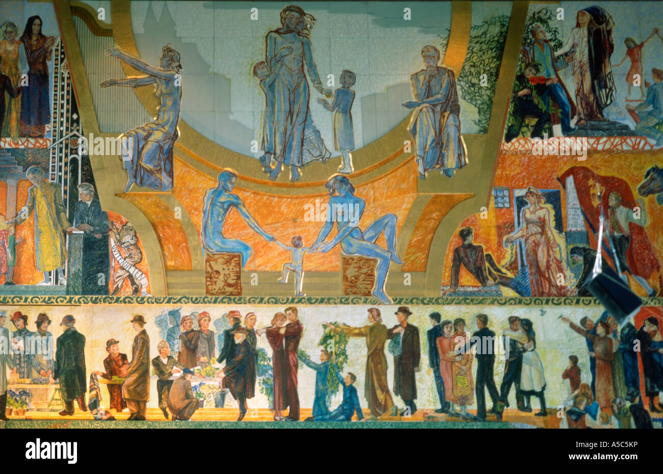 Norway. Oslo. Town hall, interior mural - Stock Image