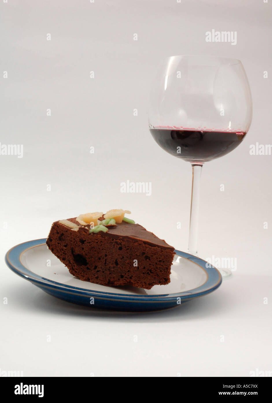 Birthday Cake A Slice Of Chocolate Cake And A Glass Of Red Wine