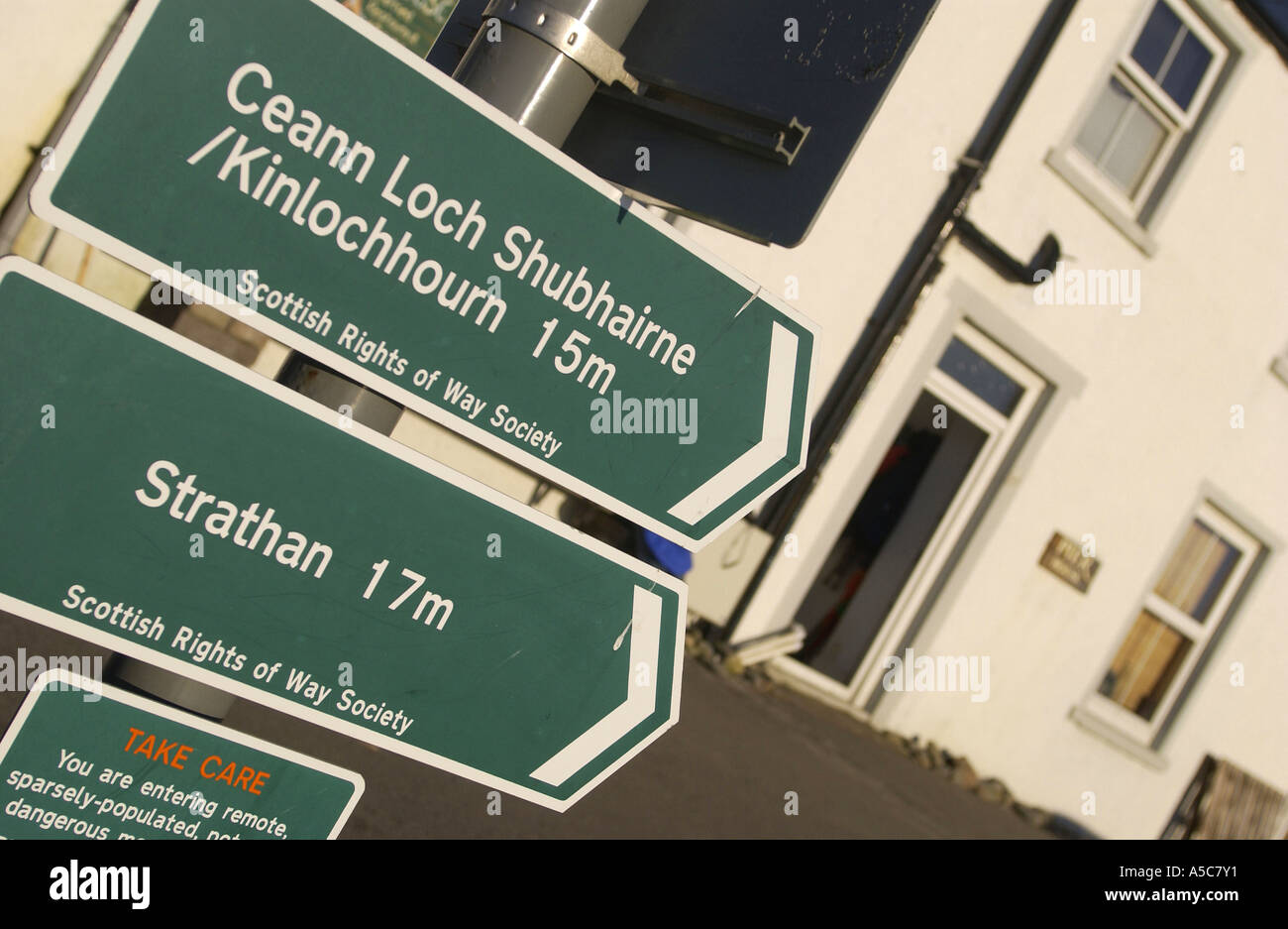 Scottish Rights of Way Society sign outside the Pierhouse Restaurant Knoydart - Stock Image