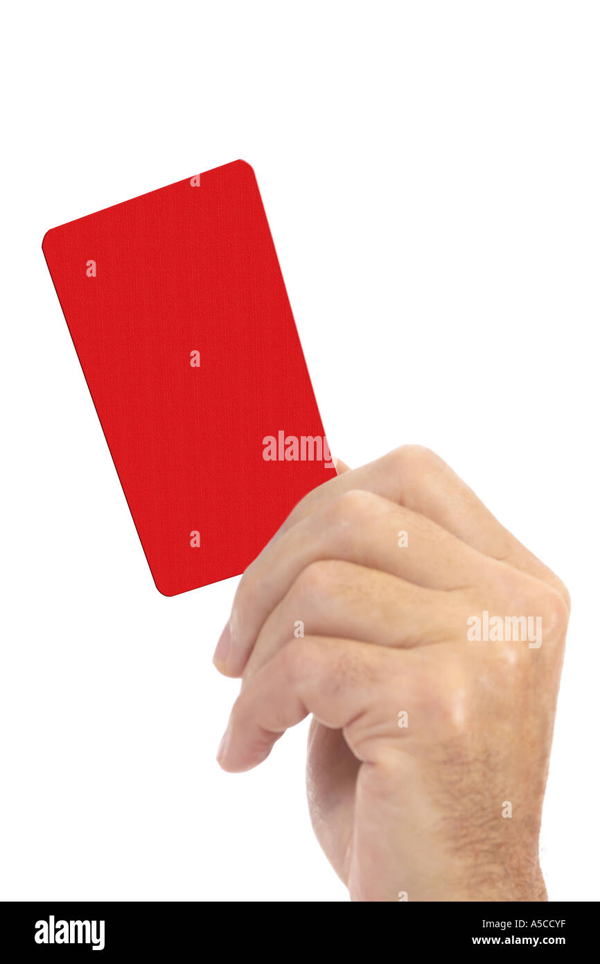 Man holding red card - Stock Image