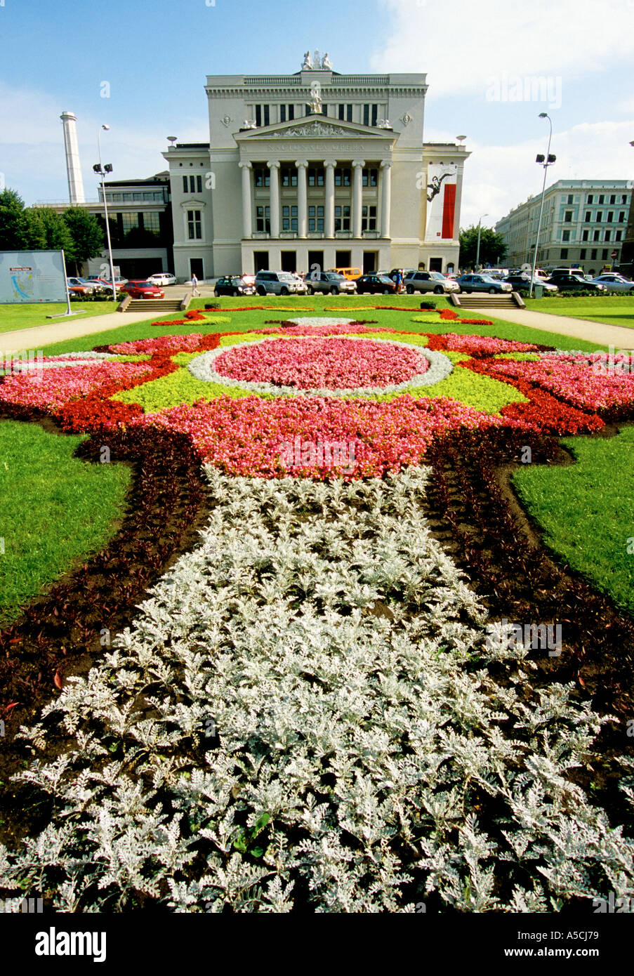 Riga Latvia Flower Garden Design In Front Of The National Opera House