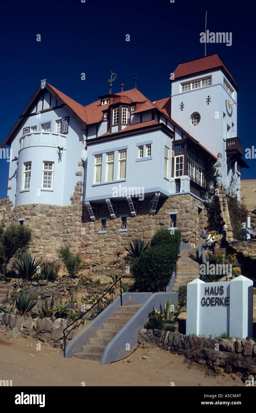 Haus Goerke house showing German architecture in Luderitz Namiba Africa - Stock Image