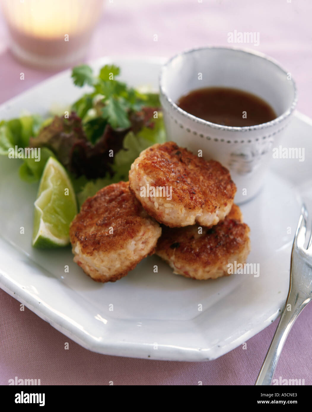 Small Thai Crabcakes With Hot Sweet Chilli Dipping Sauce And Salad