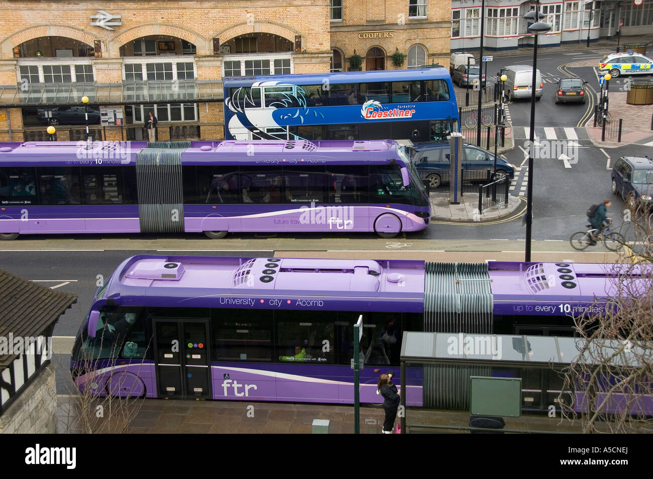 Ftr Future Travel First Bus At York Station York North Yorkshire England Uk United Kingdom Gb Great Britain